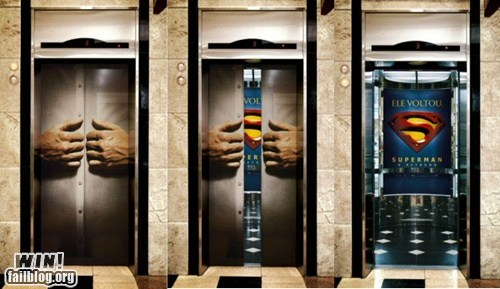 advertisement,clever,elevator,nerdgasm,super hero,superman