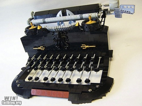 lego,nerdgasm,retro,sculpture,typewriter,vintage