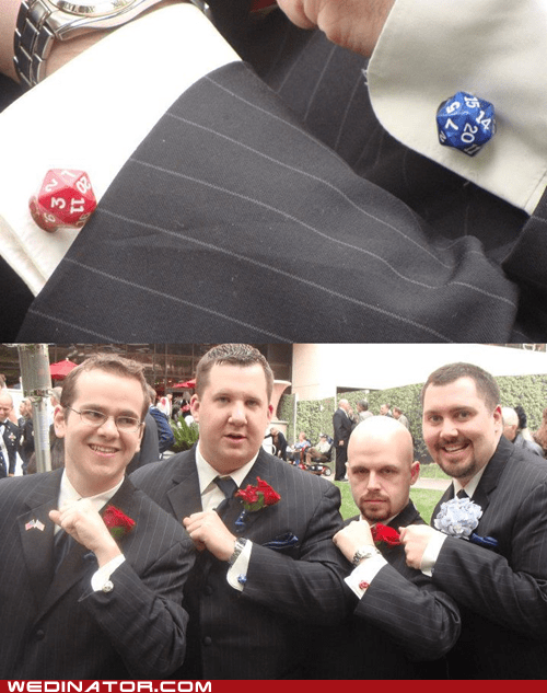 20-sided dice,cufflinks,D20,dice,funny wedding photos,Hall of Fame