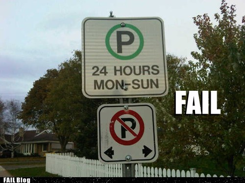 cars contradiction instructions paradox parking sign wait what - 5452648960