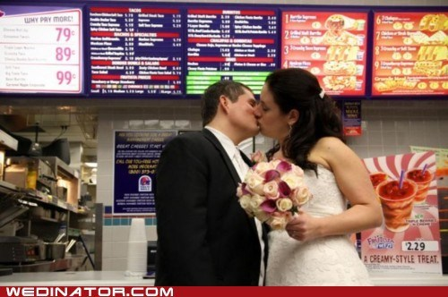 bride,fast food,funny wedding photos,groom,KISS,taco bell