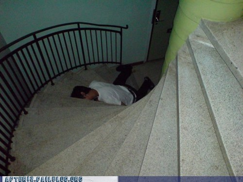 drunk,face down,floor,passed out,so close,stairs