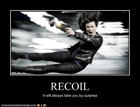 eve myles,guns,Gwen Cooper,recoil,surprise,Torchwood