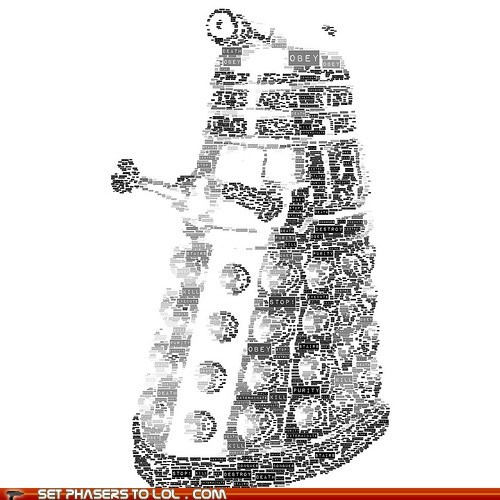 art,dalek,doctor who,Exterminate,words
