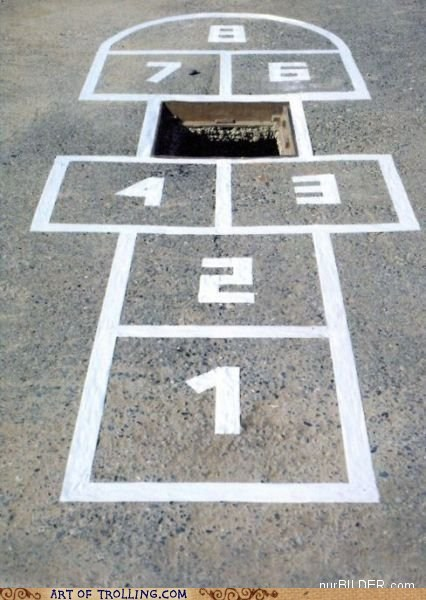 hole,hopscotch,IRL,manhole