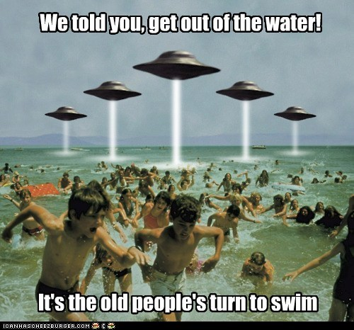 alien invasion,Aliens,beach,ocean,swim,swimming,ufo,UFOs