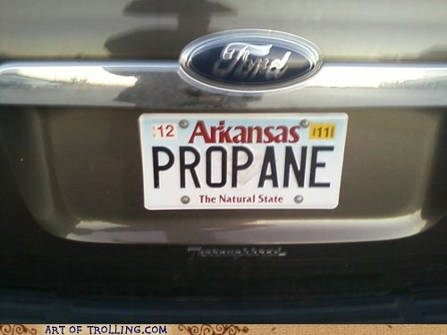 arkansas IRL King of the hill license plate propane