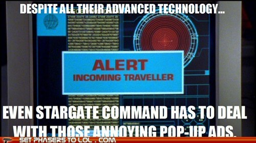 ads pop up Stargate technology traveller