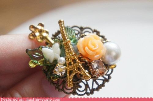 accessories brooch eiffel tower pin rose victorian - 5458563072
