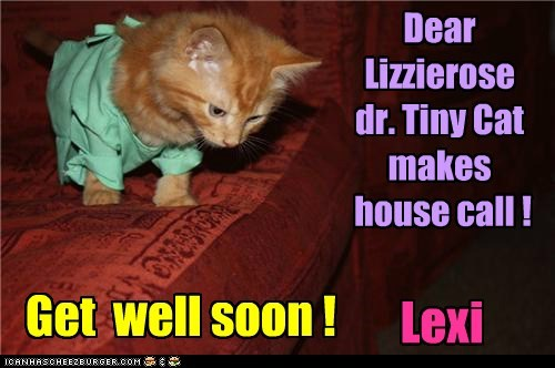 Dear Lizzierose dr. Tiny Cat makes house call ! Get well soon ! Lexi