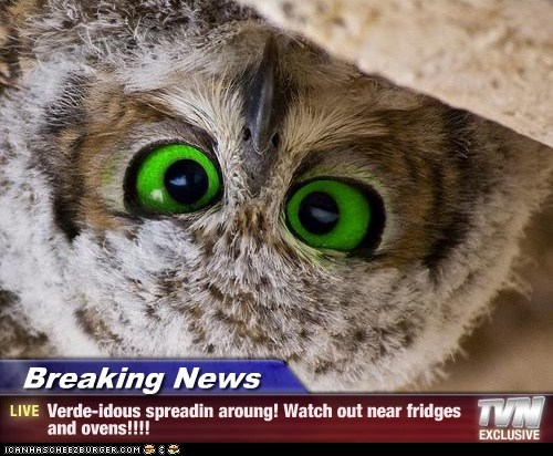 Breaking News - Verde-idous spreadin aroung! Watch out near fridges and ovens!!!!