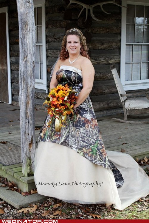 camouflage bride hunting front porch