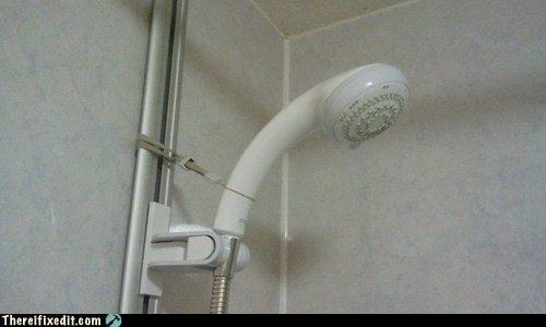 Shower head held up with WiiMote strap