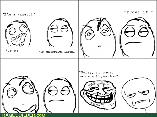 Hogwarts,magic,Rage Comics,troll