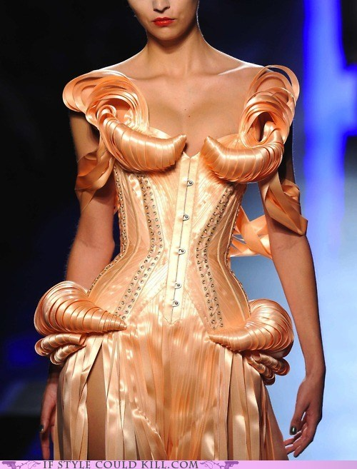 cool accessories,croissant,dress,jean-paul gaultier