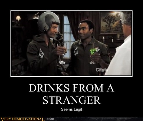 community,drinks,hilarious,stranger