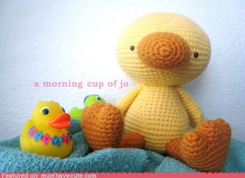 Amigurumi,Crocheted,duck,Plush,toy,yellow
