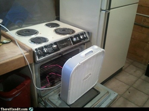 dual use fan heating oven winter