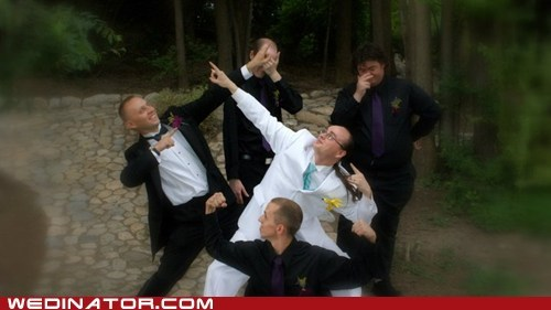 funny wedding photos groom Groomsmen pose power rangers