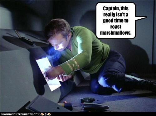 Captain Kirk,fire,marshmallows,roasting,Shatnerday,Star Trek,William Shatner