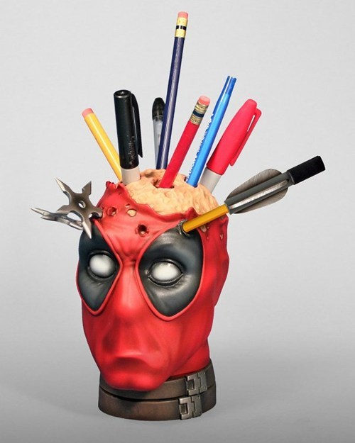 comics,deadpool,desk accessories,merch,office supplies,pencil holder,superheroes