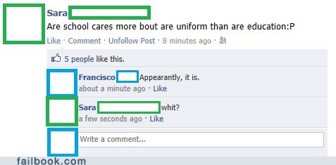 facepalm school spelling uniforms - 5463780608