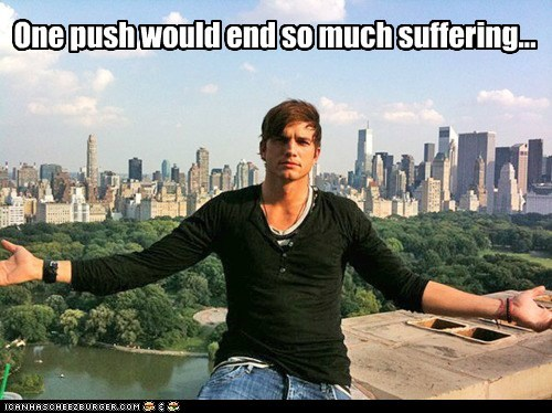 ashton kutcher,city,Death,end,murder,push,suffering
