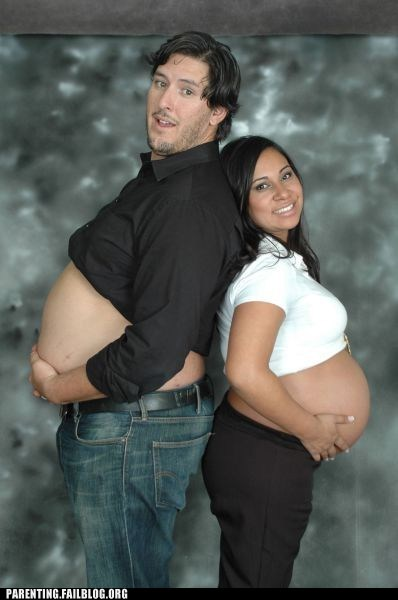 beer belly couple expecting family portrait Parenting Fail portrait pregnant - 5464116736