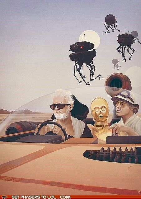 c3p0,fear and loathing in las vegas,luke skywalker,obi-wan kenobi,speeder,star wars,tatooine