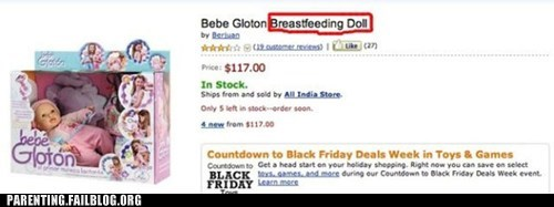 black friday,breastfeeding,creepy,doll,naughty or nice,Parenting Fail,sale,toy,wait what