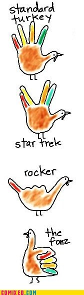 awesome drawings fonz hand turkey rocker Star Trek thanksgiving the internets - 5464565248
