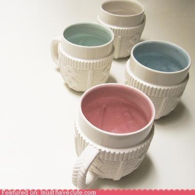 cable knit ceramic coffee mug sweater tea - 5464577024