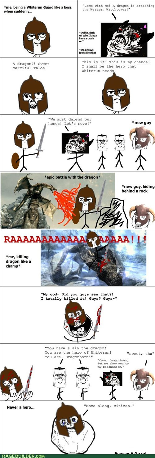 best of week,dragons,forever alone,guard,Rage Comics,Skyrim,video games