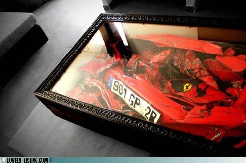 car,coffee table,crash,expensive,ferarri,smashed,wreck