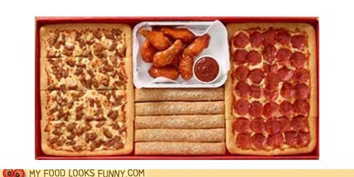 box,breadsticks,chicken wings,football,meal,pizza