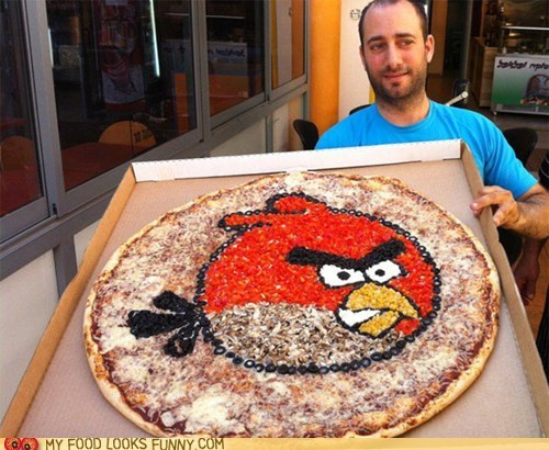 angry birds,cheese,game,Mushrooms,olives,peppers,pizza,toppings