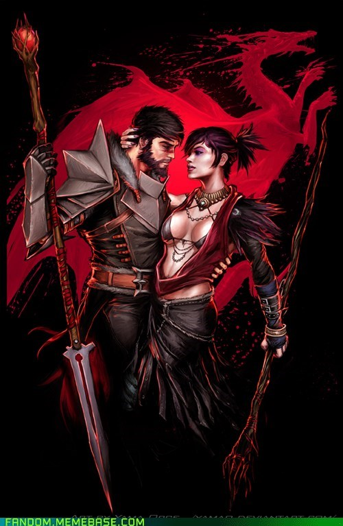 dragon age Fan Art hawke morrigan video games yeah-i-made-that-power-couple-name-up-wanna-fight-about-it - 5464660224