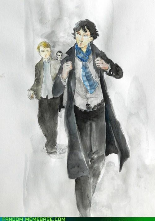 bbc,Fan Art,sherlock holmes,watercolor