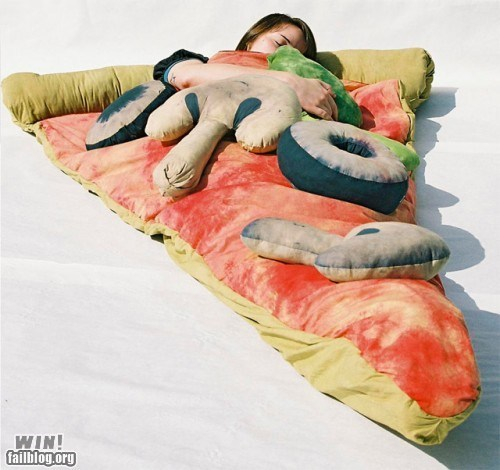 clever,design,food,Pillow,pizza,sleeping bag