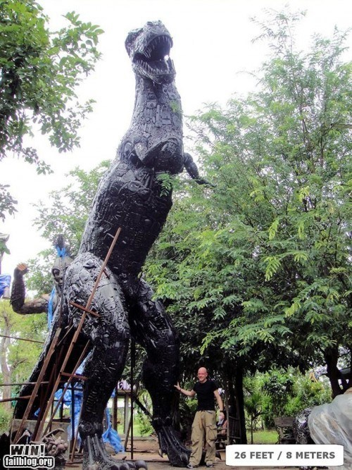 art dinosaur junk recycle sculpture t rex - 5464812032