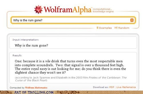 pirates of the carribean,Rum,wolfram alpha