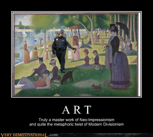 art,hilarious,impressionism,Pepper Spray Cop