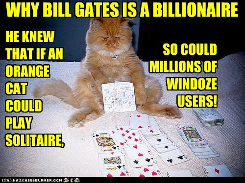 Bill Gates,caption,captioned,cat,ingenious,millionaire,plan,reason,solitaire,tabby,users,why,windows