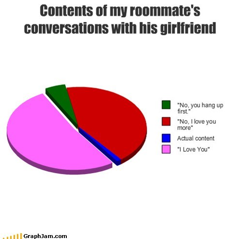 conversations,gf,girlfriend,phone,Pie Chart,roommates
