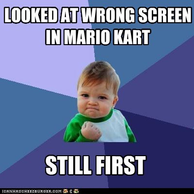 Mario Kart,nintendo,screen,success kid,video games