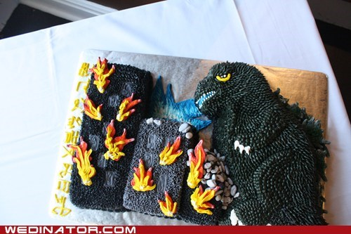 funny wedding photos godzilla grooms-cake Japan wedding cake