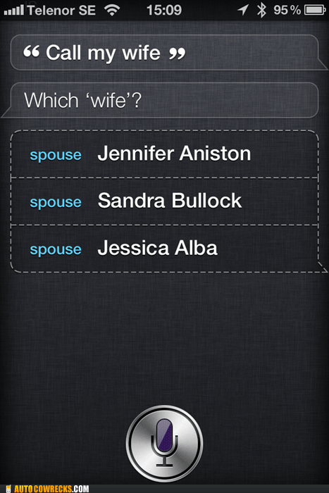 jennifer aniston,jessica alba,Sandra Bullock,siri,spouse,wife