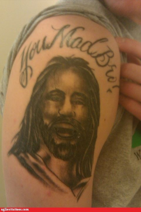 comedy tats,jesus christ,portraits,religion,words