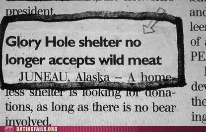 bear double entendre double entendres glory hole headline headlines meat news one liners p in v puns We Are Dating wild meat