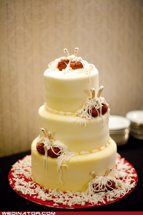 cake,cake toppers,flying spaghetti monster,funny wedding photos,pastafarian,wedding cake